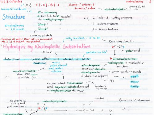 OCR A Level Chemistry Haloalkanes Revision Poster
