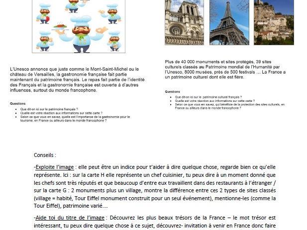 Fiche aide AS oral FRENCH - Patrimoine AQA card