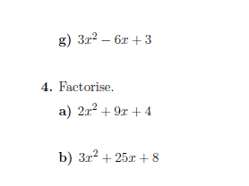 Quadratic factorisation worksheets