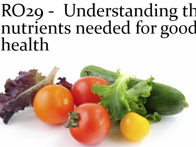 Cambridge National Health and social care RO29 Understand the nutrients needed unit