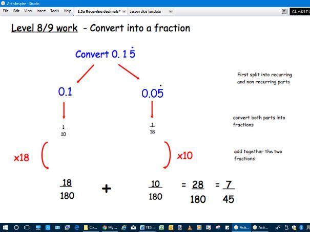 Lesson to convert recurring decimals to fractions