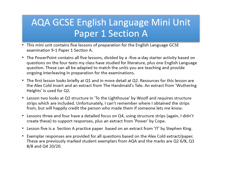 AQA English Language 9-1 Paper 1 Section A Revision Unit 2019 FREE