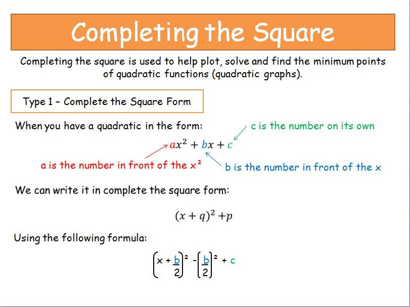 Topic completing the square worksheet 1 answers