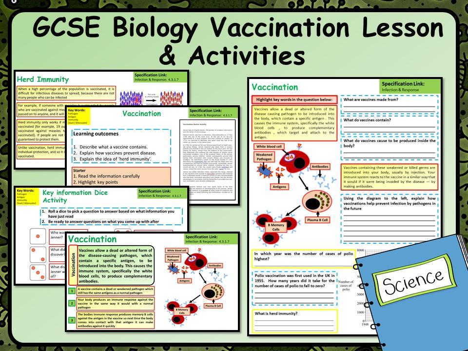 KS4 AQA GCSE Biology (Science) Vaccination Lesson & Activities
