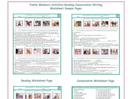Family members activities reading conversation writing worksheets by cover image ibookread ePUb