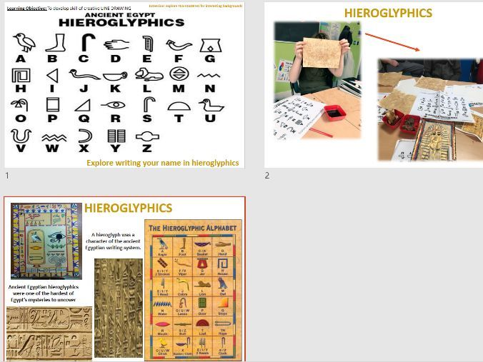 Ancient Egypt Art Graphics Task - Hieroglyphics - Line Drawing & Mark Making - KS2/KS3 Short  Cover