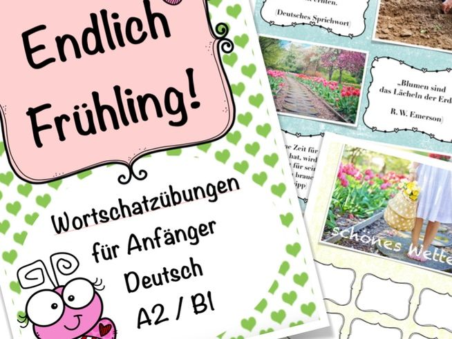 Endlich Frühling - DAF German, Deutsch Wortschatz Paket m. Spielen + Übungen, A2 / B1, 20 worksheets
