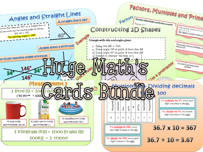 HUGE MATHS PROMPTS/REVISION CARDS BUNDLE