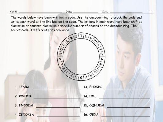Past Perfect Tense Decoder Ring Worksheet