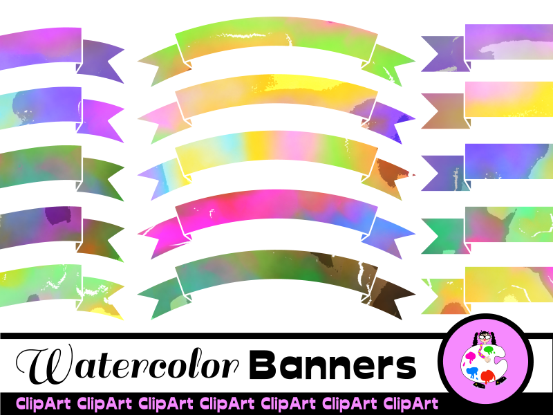 Clip Art Watercolor Ribbon Banners