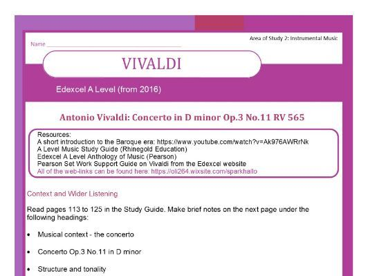 Edexcel A Level Music (from 2016) Vivaldi worksheet (includes context and wider listening)