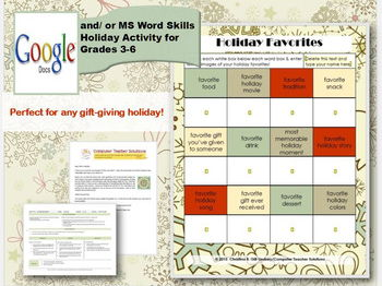 Holiday Favorites--A GOOGLE DOCS and Microsoft Word Activity for Grades 3-6