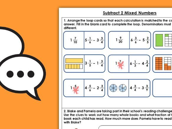 Year 5 Subtract 2 Mixed Numbers Spring Block 2 Maths Discussion Problems