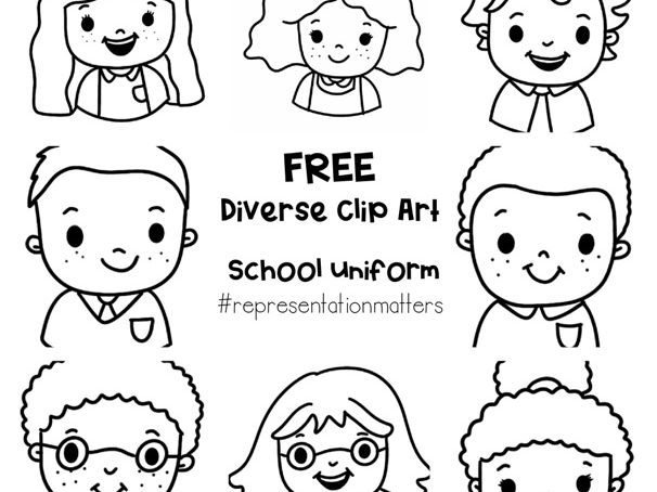 Diverse Pupil Clip Art - Outline for BW printing