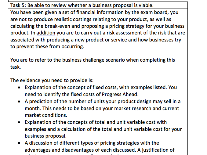 OCR Cam Nat Lv 2 - Enterprise and Marketing - Design A Business Proposal - Student Support Sheet