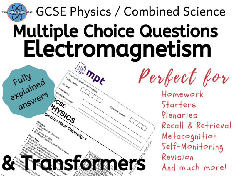 20 Multiple Choice Questions with Answers - Magnetism & Electromagnetism / Transformers