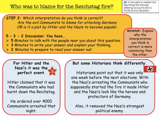 gcse history coursework reichstag fire Edexcel gcse history a (the making of the modern world) unit 2: modern world depth study  reichstag fire to make hindenburg declare a state of emergency.