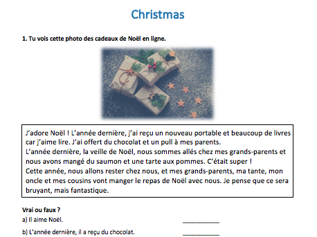 French Christmas GCSE-style activities