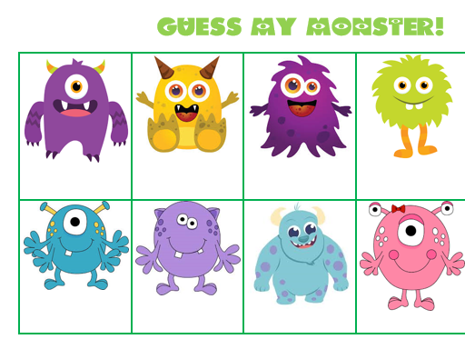 Guess my monster - adjective and description game