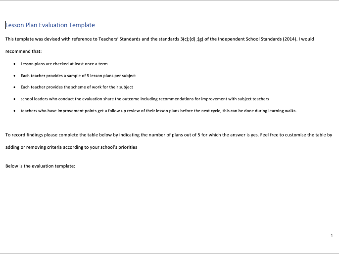 Lesson Plan Evaluation Template