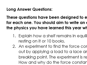 OCR Physics A H156 Long Answer Questions