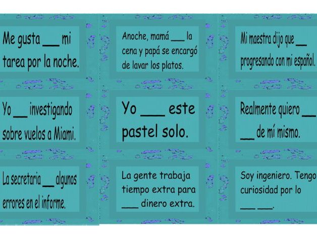 Verb Hacer Spanish Card Game