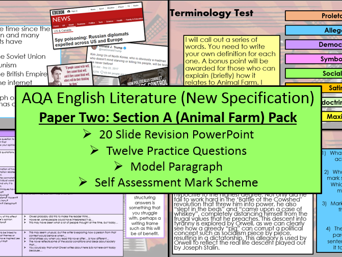 English Literature Paper Two - Section A: Animal Farm Exam Practice Questions (AQA, 9-1 GCSE)