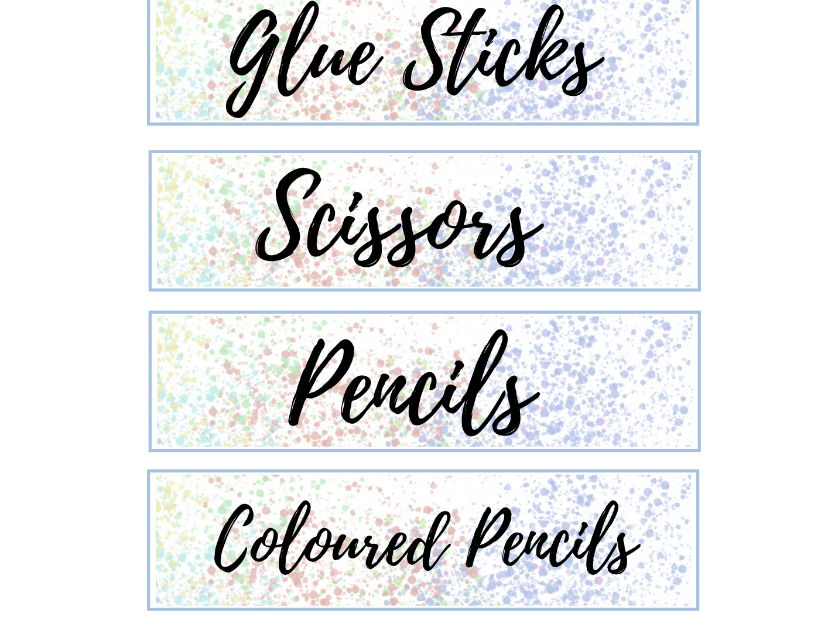 Pastel Resource Tray Labels