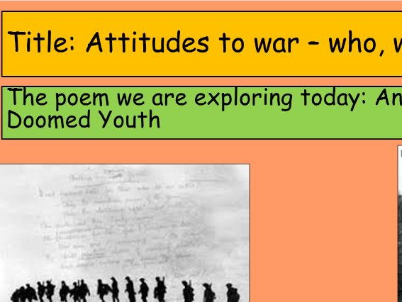 KS3 War Poetry 'Anthem for Doomed Youth'