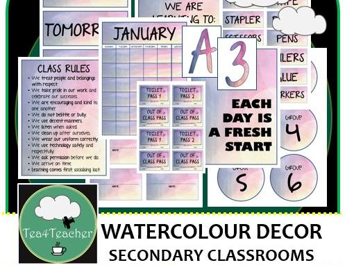 Watercolour Décor Set for Secondary Classrooms x110 pages of Labels Titles Tags Signs Calendar