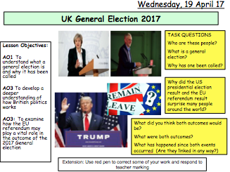 UK General Election 2017 - The work of Parliament  and Government: Citizenship
