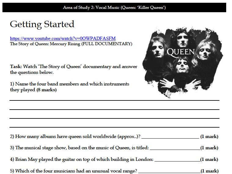 AO2 Queen 'Killer Queen' - Complete Workbook (23 Pages)
