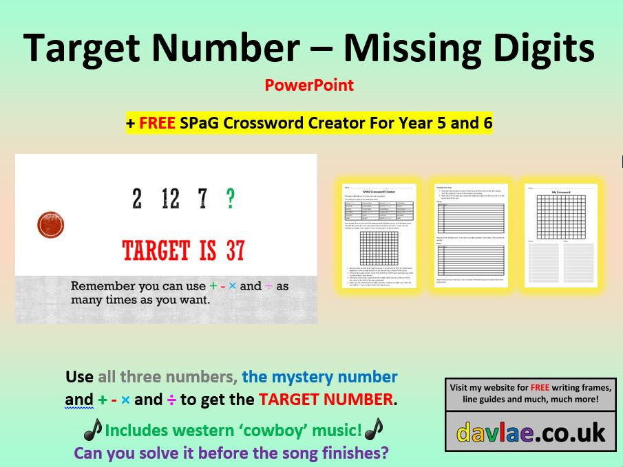 Target Number Missing Digits PowerPoint (+ FREE SPaG CROSSWORD CREATOR FOR YEAR 5 AND 6)