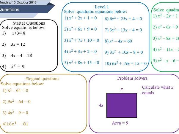 Solving quadratic equations lesson