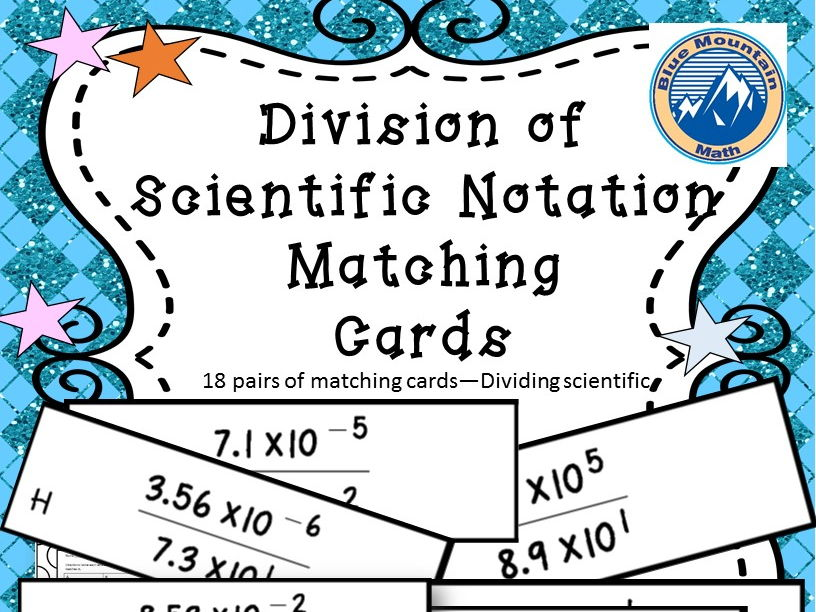 Dividing Scientific Notation Matching Cards