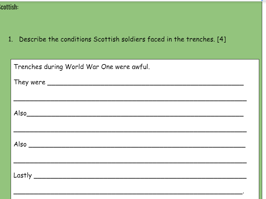 National 4 History Exam Style Question Booklet