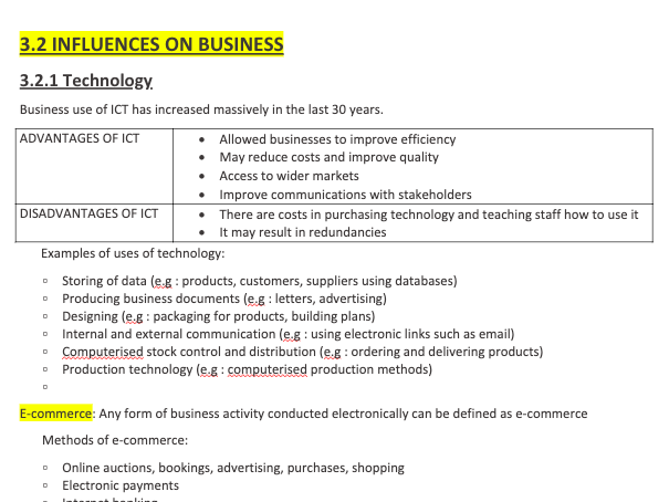 GCSE Busines Studies 3.2 Influences On Business Complete Summary