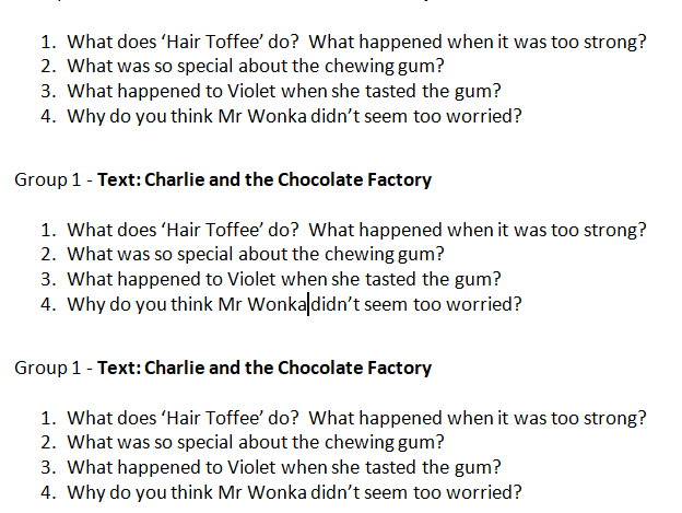 Charlie and the Chocolate Factory Comprehension