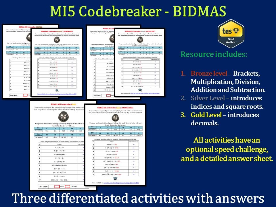 BIDMAS / BODMAS MI5 Codebreaker (Differentiated with answers)