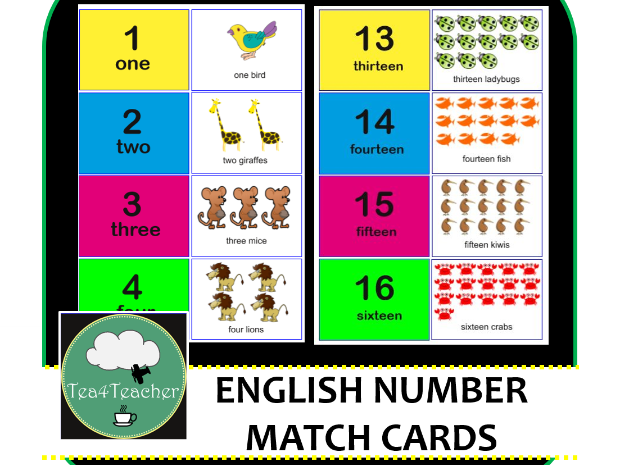 Number Match Cards 1-20 English Number Recognition and Counting Kindy Preschool Kids