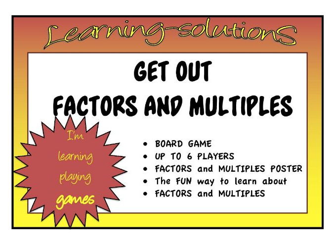 FACTORS and MULTIPLES POSTER A4 size -  FREE