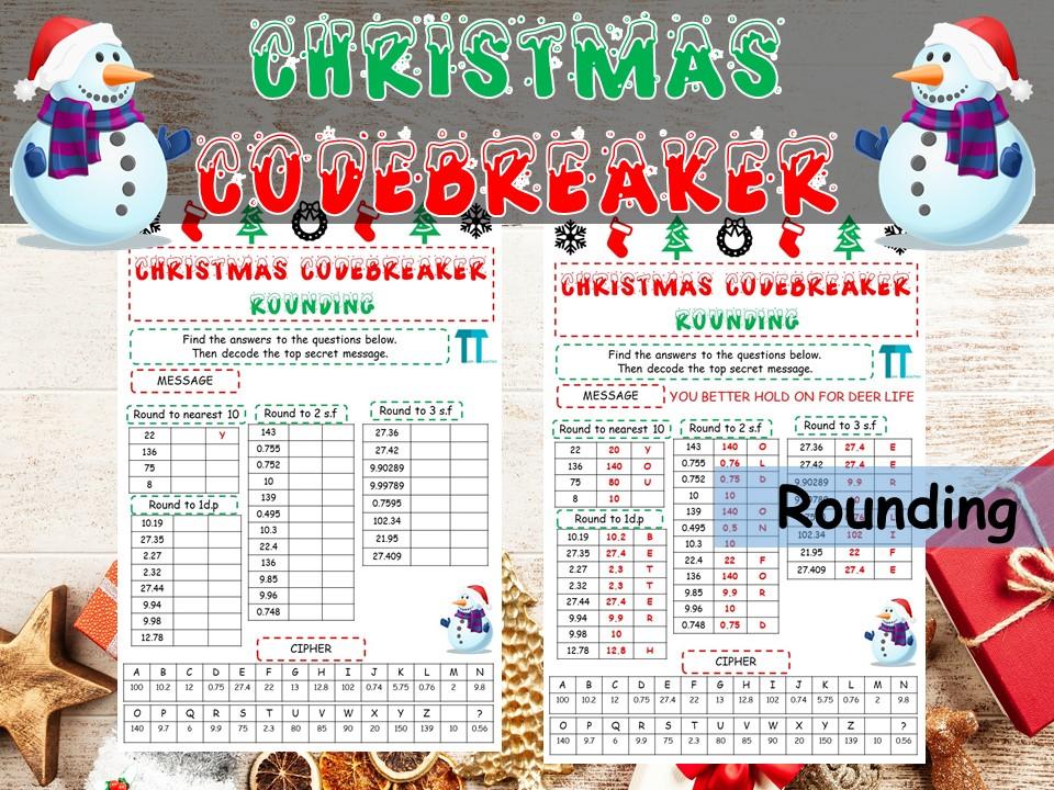 Christmas maths Codebreaker on rounding