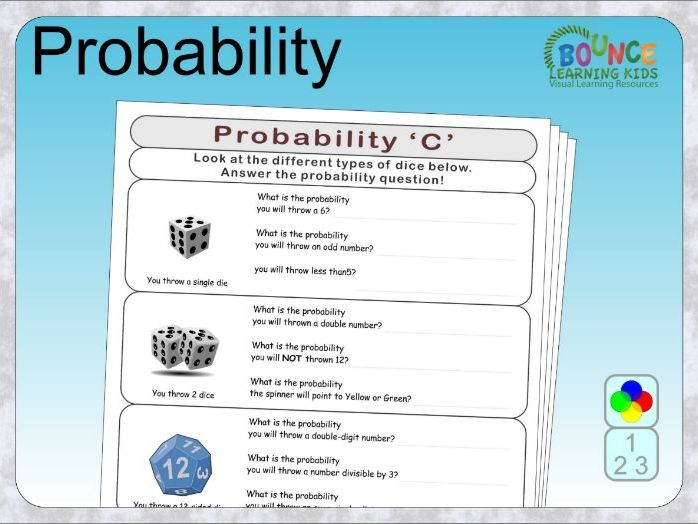 Probability distance learning worksheets