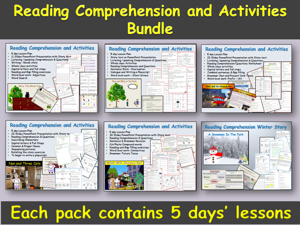 Reading Comprehension and Activities Bundle - Presentations, Lesson Plans, Grammar/Word focus, Differentiated Worksheets