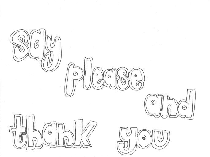 Say Please and Thank You (Classroom Rules) Colouring Page