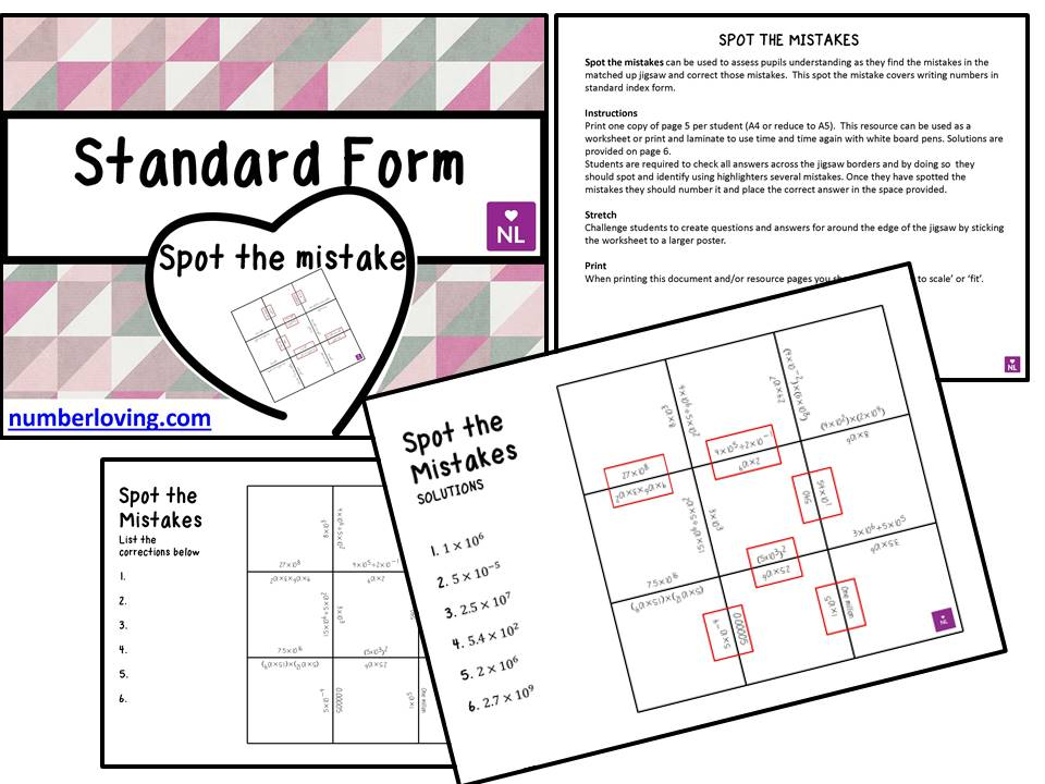 Standard Form Spot the Mistake Worksheet