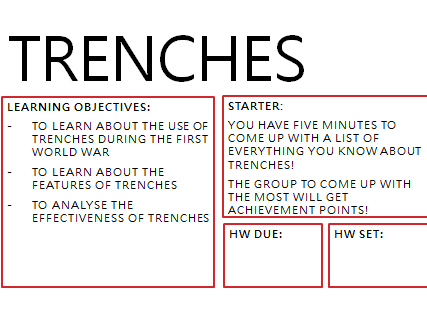 Trenches - features of trenches and how effective they were during WW1