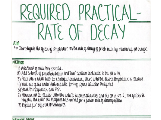 RP - Rate of Decay (Ecology) Revision Poster [AQA GCSE Biology Double and Triple 9-1]