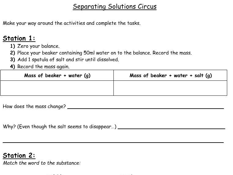 Separating Mixtures/ Dissolving Circus (Practical Activity) - (KS3) Separating Mixtures/ Solutions