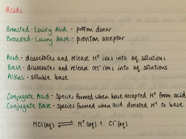 A Level Chemistry - Acids and Bases